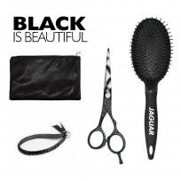 Kit Jaguar Black: Tijera de Corte Black Paradise 5.5'' + Cepillo Circular + estuche