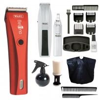 Maquina de Corte Profesional Recargable Bellina Wahl + Trimmer + Nasal Mustache & Beard Wahl+ Peine de Corte + Peine de Cola + Pulverizador + Capa + Quitapelo LucyDan