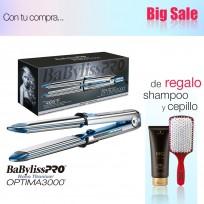 Plancha Alisadora Optima 3000 Acero Inoxidable con Placas de Nano Titanium BaByliss PRO + Shampoo Schwarzkopf y Cepillo de Regalo!!