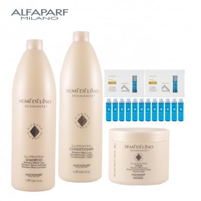 Máscara Illuminating x500gr + Shampoo Illuminating  X1000ml + Acondicionador Illuminating X1000ml Semi Di Lino Diamante Alfaparf + 12 ampollas OIL Illuminating  X15ml