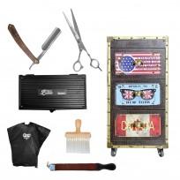 Combo Módulo Barber Dark + Peinador + Asentador Probasic + Brocha + Set Official Barber Tijera + Navaja Rodger