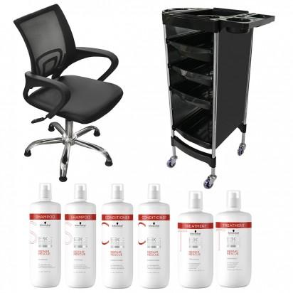 Sillón de Corte Luxury Day + Módulo Andrew + Shampoo + Acondicionador + Tratamiento Schwarzkopf