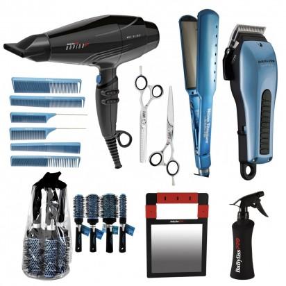 Combo Tijera Corte + Tijera Pulir + Pulverizador + Pack Cepillos + Pack Peines + Espejo + Secador + Plancha + Maquina de Corte
