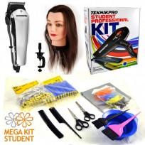 Mega Kit para Estudiantes de Peluquería Con Herramientas y Accesorios + Máquina Home Pro Basic Wahl