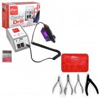 Combo Torno Comfort Drill + Kit Manicuría 4 Alicates Thuya