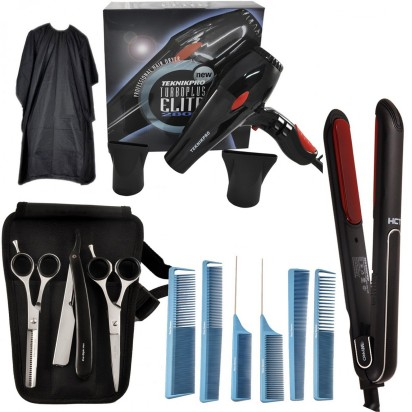 Secador de Pelo Profesional New Turbo Elite Plus Teknikpro + Plancha de Pelo Profesional HCT  WPRO + Kit de Accesorios