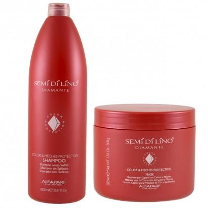 Shampoo Color & Meches Protection X1000ml + Máscara Color & Meches Protection X500ml Semi Di Lino Diamante Alfaparf