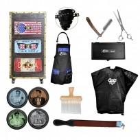 Combo Módulo Barber Dark + Peinador + Asentador Probasic + Brocha + Set Official Barber Tijera + Navaja Rodger + Delantal + Productos Capilares