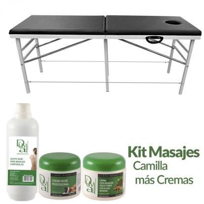 Kit Masajes: Camilla Importada Reforzada + Crema Masajes Reductores + Aceite para Masajes + Crema Base Dr. Duval