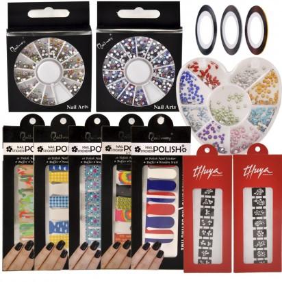 Kit Deco Uñas 4: Stickers + Stencil + Carrusel + Cintas