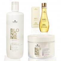 Promo BlondMe Schwarzkopf: Shampoo x1000ml + Tratamiento x200ml + Aceite Reparador de Puntas Oil Miracle x100ml