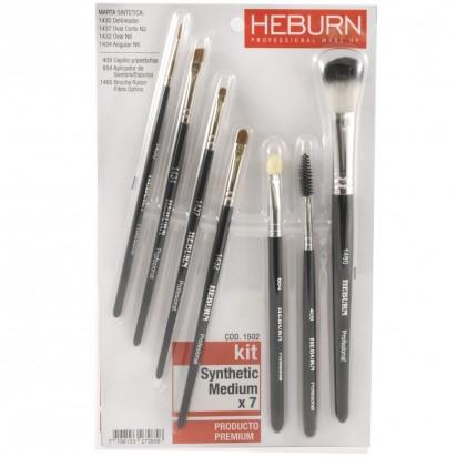Kit Pinceles Maquillaje Synthetic Medium x 7 Heburn