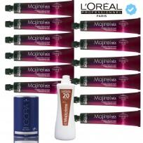 12 Tinturas Majirel + 1  Polvo Decolorante Igora Vario Blond Extra Power x 450g + 1 Oxidantes x 1000ml