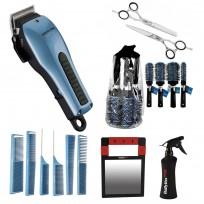 Combo Tijera Corte + Tijera Pulir + Pulverizador + Pack Cepillos + Pack Peines + Espejo + Maquina de Corte