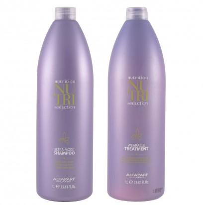 Acondicionador Leave-in Wearable Treatment x1000ml + Shampoo Ultra Moist x1000ml Nutri Seduction Alfaparf