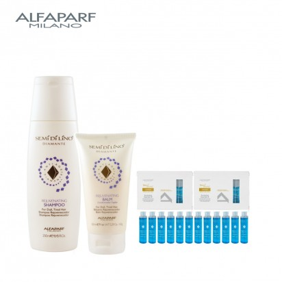 Shampoo Rejuvenating X250ml + Acondicionador Rejuvenating Balm X150ml + AMPOLLA OIL Illuminating X15ml Semi Di Lino Diamante Alfaparf