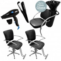 2 Sillones Hidráulicos JPS + Lavacabezas Excellence FG + Plancha Night Magic + Secador Compact